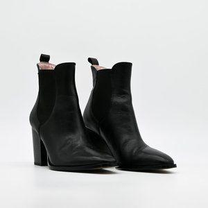 ZARA Woman Leather Ankle Bootie Chelsea Heel Black